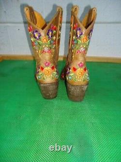 Vieux Gringo Sora Brodé Floral Tan Cuir Cowgirl Bottine Chaussures De Cheville Femmes Sz# 7 B