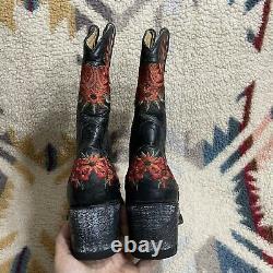 Vieux Gringo Yippee Kiyay Anna Sui Femmes Noir Rouge Stitch Floral Lynn Taille 11b