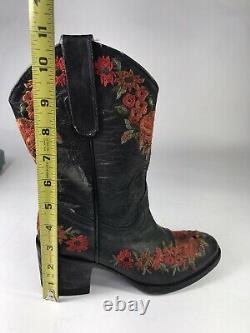 Vieux Gringo Yippee Kiyay Femmes Noir Rouge Floral Piquée Western Rodeo Bottes 5b