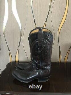 Vintage Lucchese Bottes En Cuir Classiques Faites À La Main Taille Des Femmes 8.5 Made Aux USA