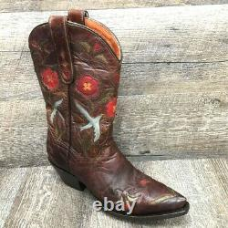 Vtg Dan Post Femme Blue Bird Western Cowboy Boots Brown Floral Leather 6.5 M